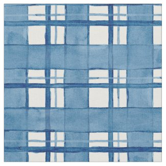 Nautical Watercolor Hand Painted Plaid Pattern Fabric