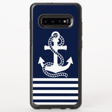 Nautical White Blue Anchor OtterBox Symmetry Samsung Galaxy S10  Case