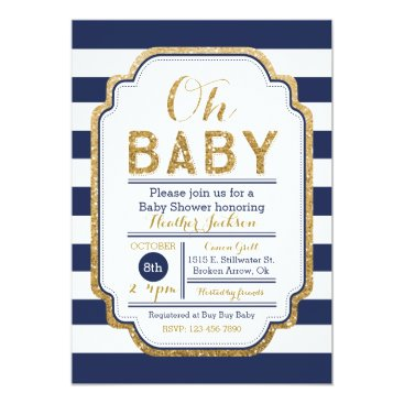 Navy And Gold Baby Shower Invitation, Baby boy Card