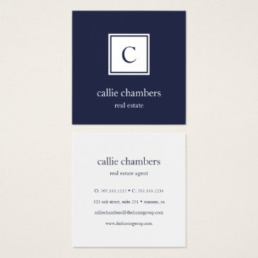 Navy and White Monogram Square Business Card