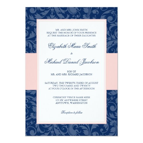 Navy Blue and Blush Pink Damask Swirl Wedding Invitation