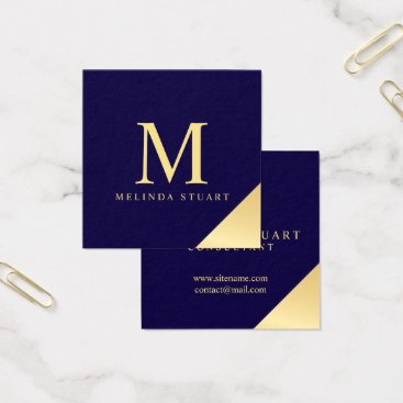 Navy Blue and Gold Elegant Monogram Square Business Card