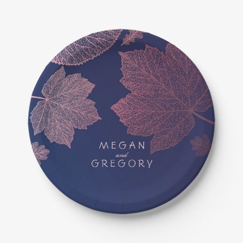 Navy Blue and Rose Gold Fall Leaves Wedding Paper Plate