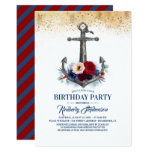 Navy Blue Burgundy Floral Anchor Nautical Birthday Invitation