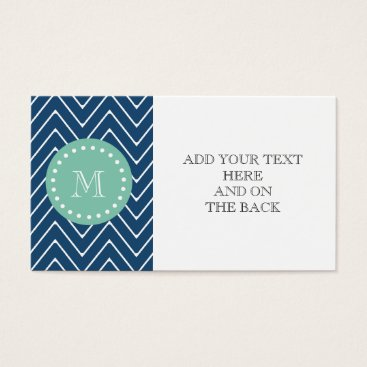 Navy Blue Chevron Pattern | Mint Green Monogram Business Card