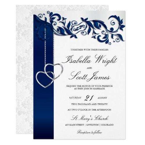 Navy Blue Floral Design Wedding Invitation