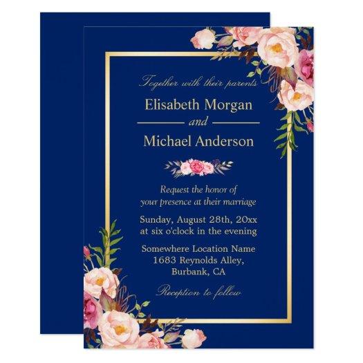 Navy Blue Gold Frame Pink Floral Wedding Card