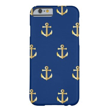 Navy Blue Golden Anchors Barely There iPhone 6 Case