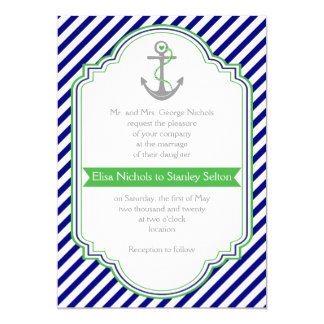 Clic Monogram Wedding Invitation Tea Length Style In Navy And Green
