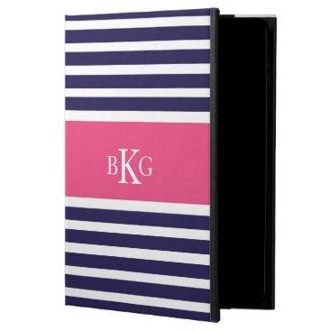 Navy Blue Hot Pink Stripes & Monogram iPad Air Cover