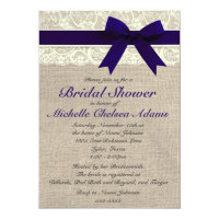 Navy Blue Lace Burlap Bridal Shower Invitation