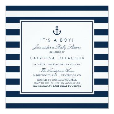 Navy Blue Nautical It's a Boy Baby Shower Invitation