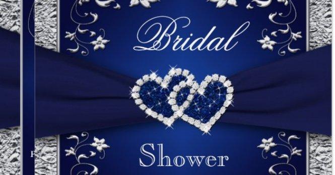 Navy Blue Silver Fl Hearts Bridal Shower Card