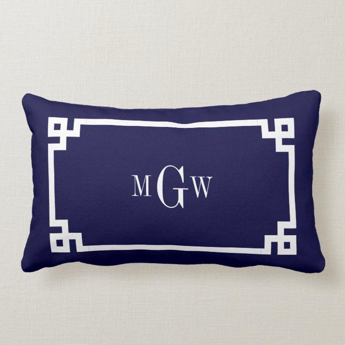 navy blue wht greek key 2 framed 3 ini monogram lumbar pillow zazzle com