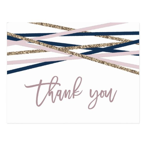 Navy Blush and Gold Streamers Thank You Postcard