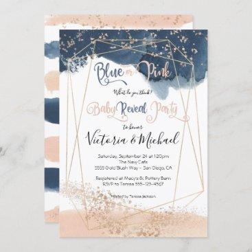 Navy Blush Gold Baby Reveal Shower invitation