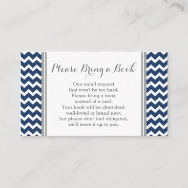 Navy Chevron Baby Shower Book Request Card