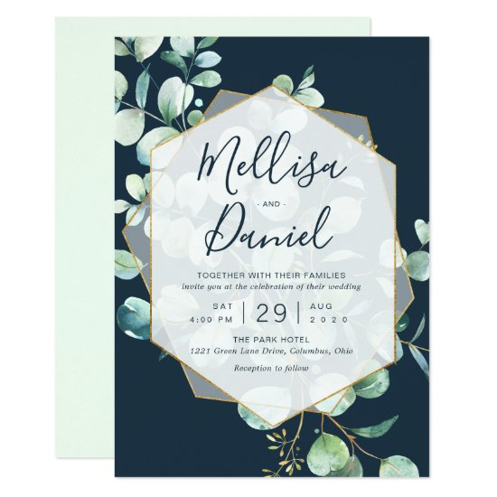 Navy & Mint Greenery with Geometric Frame Invitation