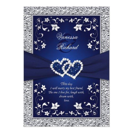 Navy Silver Fl Hearts Faux Foil Wedding Invite