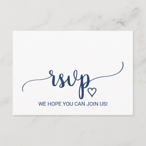 Navy Simple Calligraphy Song Request RSVP Card