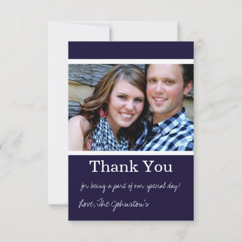 Navy Thank You Wedding Flat Cards