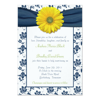 Navy Blue Lime Green Wedding Invitation