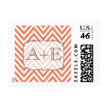 Nectarine Orange & White Chevron Monogram Postage
