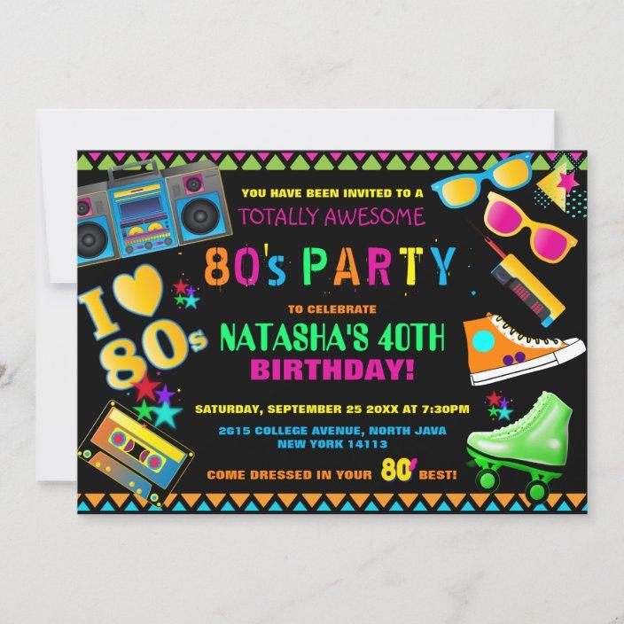 neon 80 s birthday party invitation zazzle com