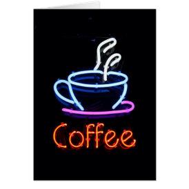 Neon Coffee Sign Card
