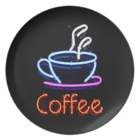 Neon Coffee Sign Dinner Plate