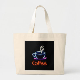 Neon Coffee Sign Large Tote Bag