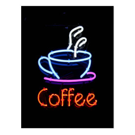 Neon Coffee Sign Postcard