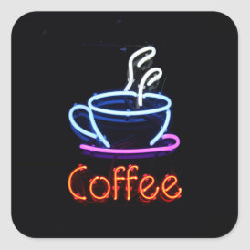 Neon Coffee Sign Square Sticker