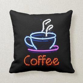 Neon Coffee Sign Throw Pillow