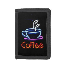 Neon Coffee Sign Trifold Wallets