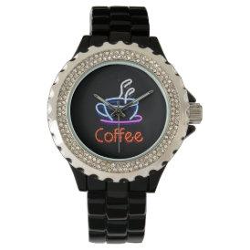 Neon Coffee Sign Wrist Watch