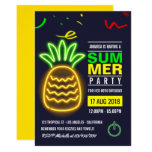 ❤️ Neon Pineapple Summer Birthday Party Invitation