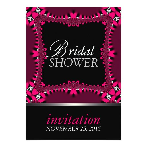 Neon Pink Hearts Bridal Shower Party Invitations