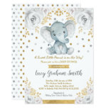 Neutral Elephant Baby Shower Gold Grey Floral Invitation