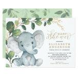 Neutral Elephant Soft Greenery Gold Baby Shower Invitation