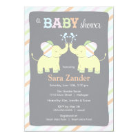 Neutral Twin Elephants | Baby Shower Invitation