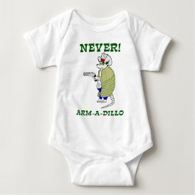 Never Arm-A-Dillo Baby Bodysuit