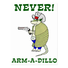 Never Arm-A-Dillo Postcard