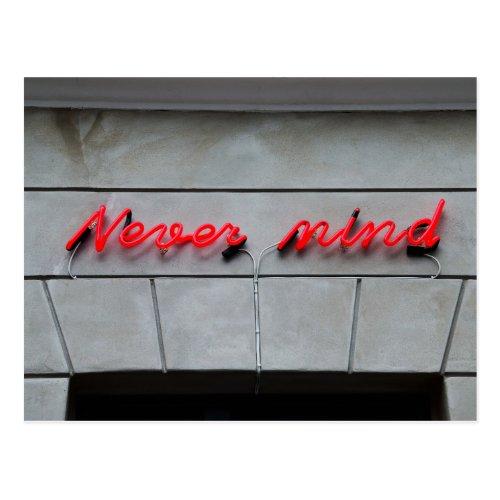 Never Mind Neon Sign Postcard