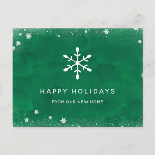 New Address at Christmas Green Watercolor and Snow Holiday Postcard
