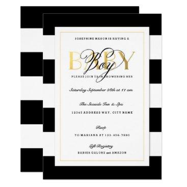 NEW Black & White Stripe Baby Boy Shower Gold Invitation