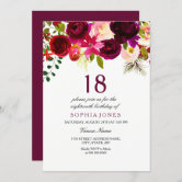 18th birthday invitation purple and