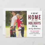 New Home for the Holidays Red Buffalo Plaid Photo Holiday Card