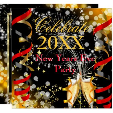 New Years Eve Party Champagne Festive Red Gold Invitation