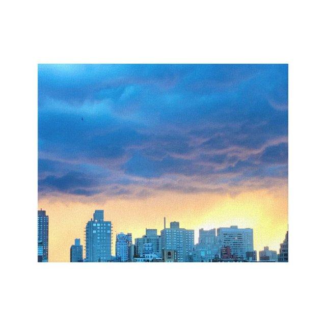 New York City, Manhattan, Wall of Fire Sunset Canvas Print